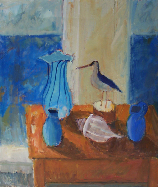 """Blue Vase by the Ocean"""